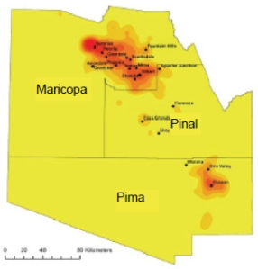 Areas where valley fever are prevalent in Arizona