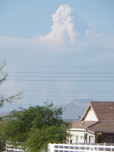 This photo shows smoke from the Arizona wildfires