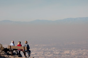 Mountains through the hazy pollution in Arizona