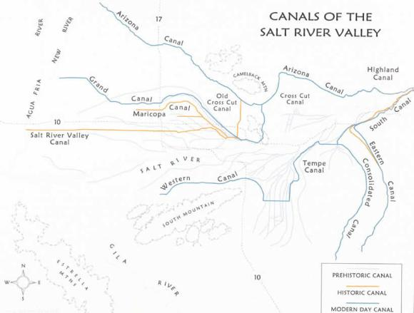 This is a map that shows the ancient Hohokam irrigation canals and today's canals