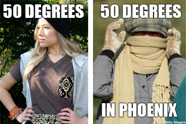 People in Phoenix get cold easily